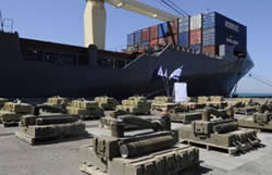 Display at the port of Ashdod of the weapons found aboard the M/V Victoria