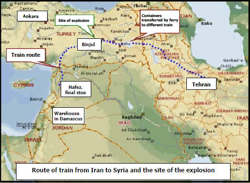 Route of train from Iran to Syria and the site of the explosion
