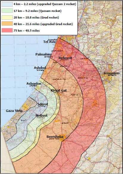 Map of the rocket threat to the Israeli home front from the Gaza Strip
