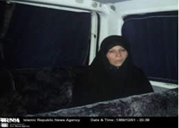 Faezeh Hashemi Rafsanjani following her brief arrest by security forces during February 20 demonstrations
