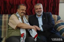 Ismail Haniya, head of the de facto Hamas administration in the Gaza Strip meets with Dr. Muhammad al-Baltagi
