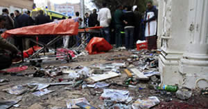 The site of the suicide bombing attack at the Coptic church in Alexandria