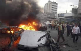 Islam Yassin's car after the strike