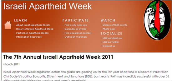The up-to-date website of the Israeli Apartheid Week (late January 2011).