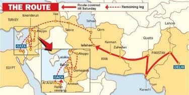 Map of the convoy's route to the Gaza Strip
