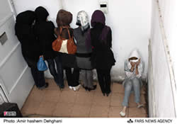Iranian women arrested for taking part in a mixed-gender party in Tehran, May 2010