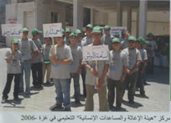 """Three columns of children in a so-called """"educational center"""" built with IHH support"""