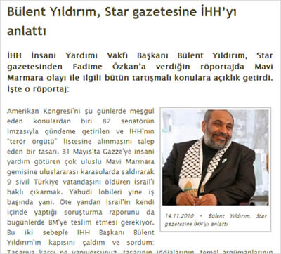 Bulent Yildirim's interview on the Turkish newspaper Star