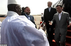 President Ahmadinejad on a visit to Gambia, November 2009