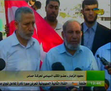 Praise for the shaheeds: Mahmoud al-Zahar at the ceremony at the cemetery