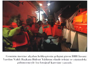 IHH leader Bulent Yildirim as the helicopters started their descent.