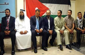 Jordanian activists at a press conference with participants after the flotilla