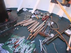 Standard and improvised wooden clubs found on board the Mavi Marmara