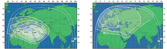 RSCC range of transmission in Europe and the Middle East