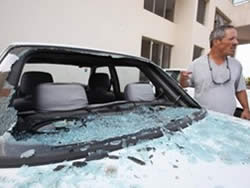 Car damage caused by the Grad rocket which hit Ashqelon