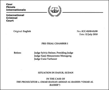 The cover page of the arrest warrant against Al-Bashir