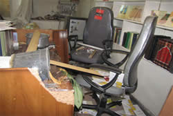 Ayatollah Sane'i's office after the attack, from Sane'i's official website