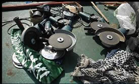 The disks used to cut the ships railing and steel cables