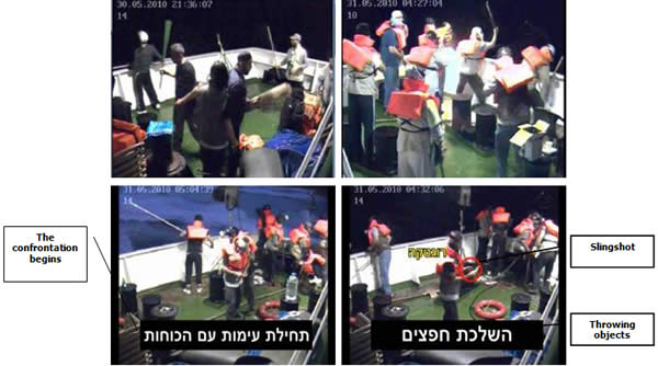Pictures taken by security cameras aboard the Mavi Marmara