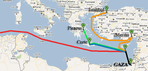 The flotilla's route to the Gaza Strip.