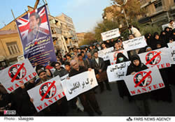 Demonstration in front of the British embassy in Tehran, November 2009