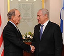 Israeli Prime Minister Benjamin Netanyahu and American Envoy to the Middle East George Mitchell