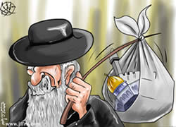A stereotypical Jew stealing the Temple Mount, from a cartoon published