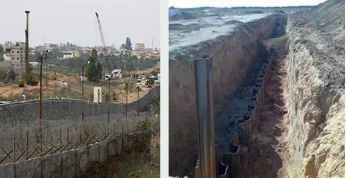 The Egyptian barrier as appeared on the Hamas