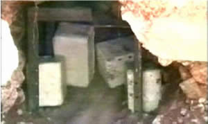 An explosive pit uncovered in the eastern sector of