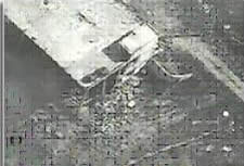 Aerial photograph after the explosion of the building in Khirbet Silim.