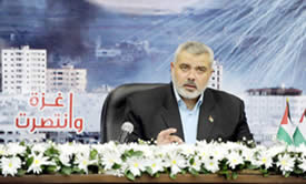 Ismail Haniya speaking from a closed studio on the anniversary of Operation Cast Lead