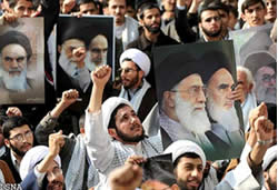 Religion students on a demonstration in Tehran against the insult to Khomeini