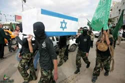 Masked operatives carry a coffin draped with the Israeli flag
