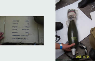 A case of 12mm mortar shells, labeled in English