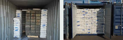Sacks of polyethylene pellets secured with white plastic ropes