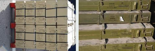 Right: A few of the crates of weapons found on the ship. Left: Cases of 122mm rockets.