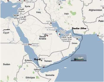 The route of the MV Mahan-1