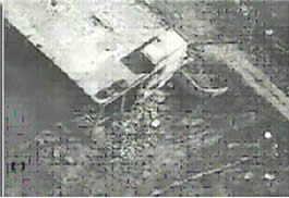 Aerial photo of the building in Khirbet Silim after the explosion