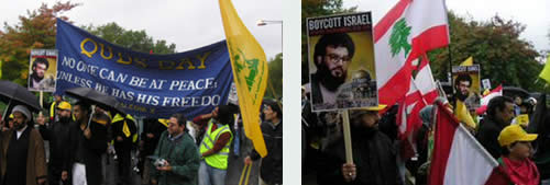 Demonstrators in London carrying Lebanese and Hezbollah flags