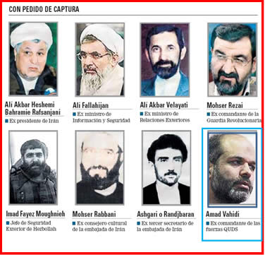 The list of wanted men issued by Argentina following the investigation