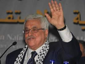 Mahmoud Abbas after being elected chairman of the Fatah movement