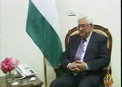 Mahmoud Abbas at a meeting with the Egyptian envoy