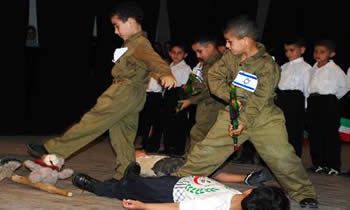 IDF soldiers (with Israeli mini-flags on their uniforms) killing Palestinian children
