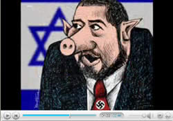 Foreign Minister Avigdor Lieberman as a pig with a swastika on his tie