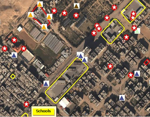 Rockets  launched near schools in the Sheikh Radwan neighborhood of Gaza City