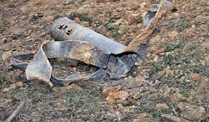 Rocket which fell in the village of Mailia in the western Galilee