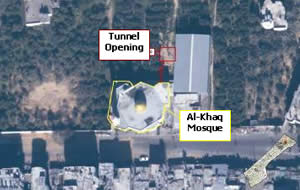 Tunnel opening near Al-Khaq Mosque