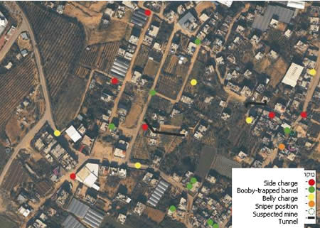 Hamas's Military Infrastructure in Al-Atatra Superimposed on an Aerial Photograph