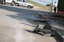 A rocket which hit a residential neighborhood in Sderot