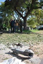 The rocket which fell in a village near the Gaza Strip